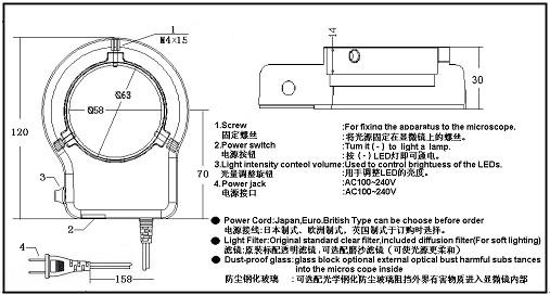 可调LED一体环型灯安装尺寸